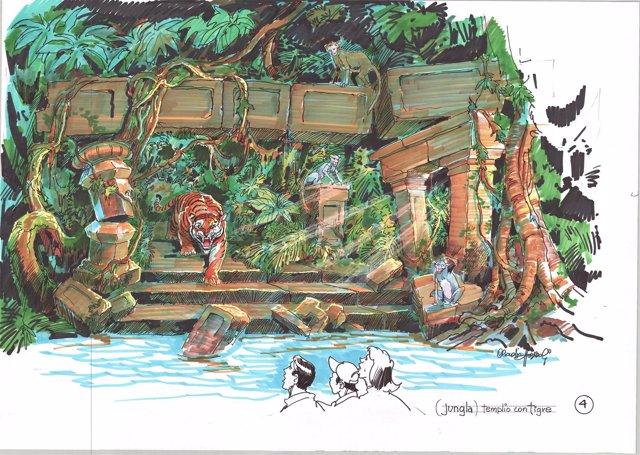 Boceto del templo del tigre en la atracción AngKor