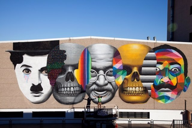 Mural dedicado a Movember que Okuda realicó en Madrid
