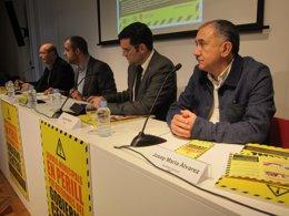 J.C.Gallego (CC.OO.); M.Buch (ACM); X.Amor (FMC) Y J.M.Álvarez (UGT)