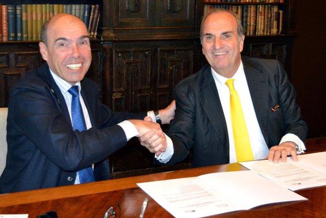 A.Esteve (FCRi) y J.Gay de Montellà (Fomento del Trabajo)