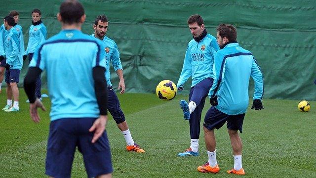 Entrenamiento Barcelona Messi Jordi Alba Montoya Mascherano