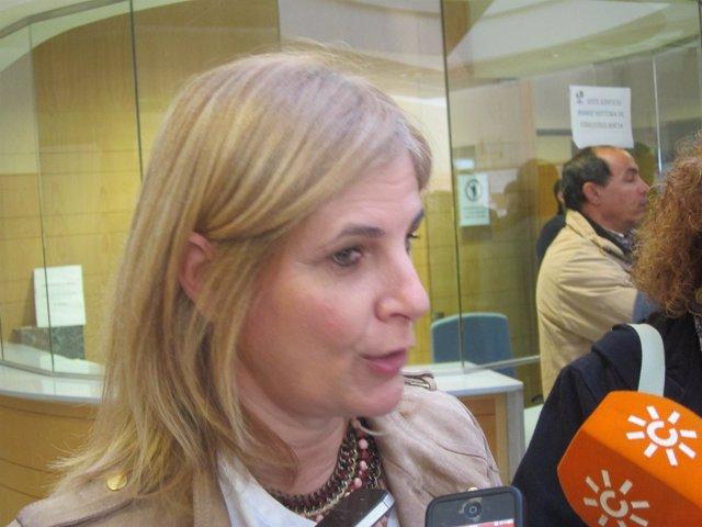 La alcaldesa de Jerez, María José García-Pelayo, atendiendo a los medios