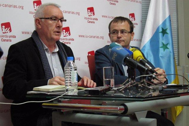 Cayo Lara (IU) durante la rueda de prensa en Las Palmas de Gran Canaria