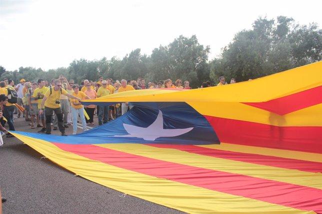 Estelada durante la Via Catalana (Archivo)