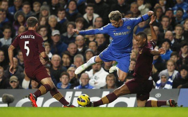 Fernando Torres, en el Chelsea-Manchester City