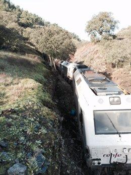 Tren descarrilado en Huelva.