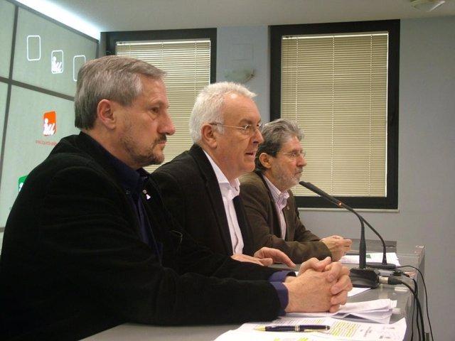 Willy Meyer y Cayo Lara con Adolfo Barrena de fondo