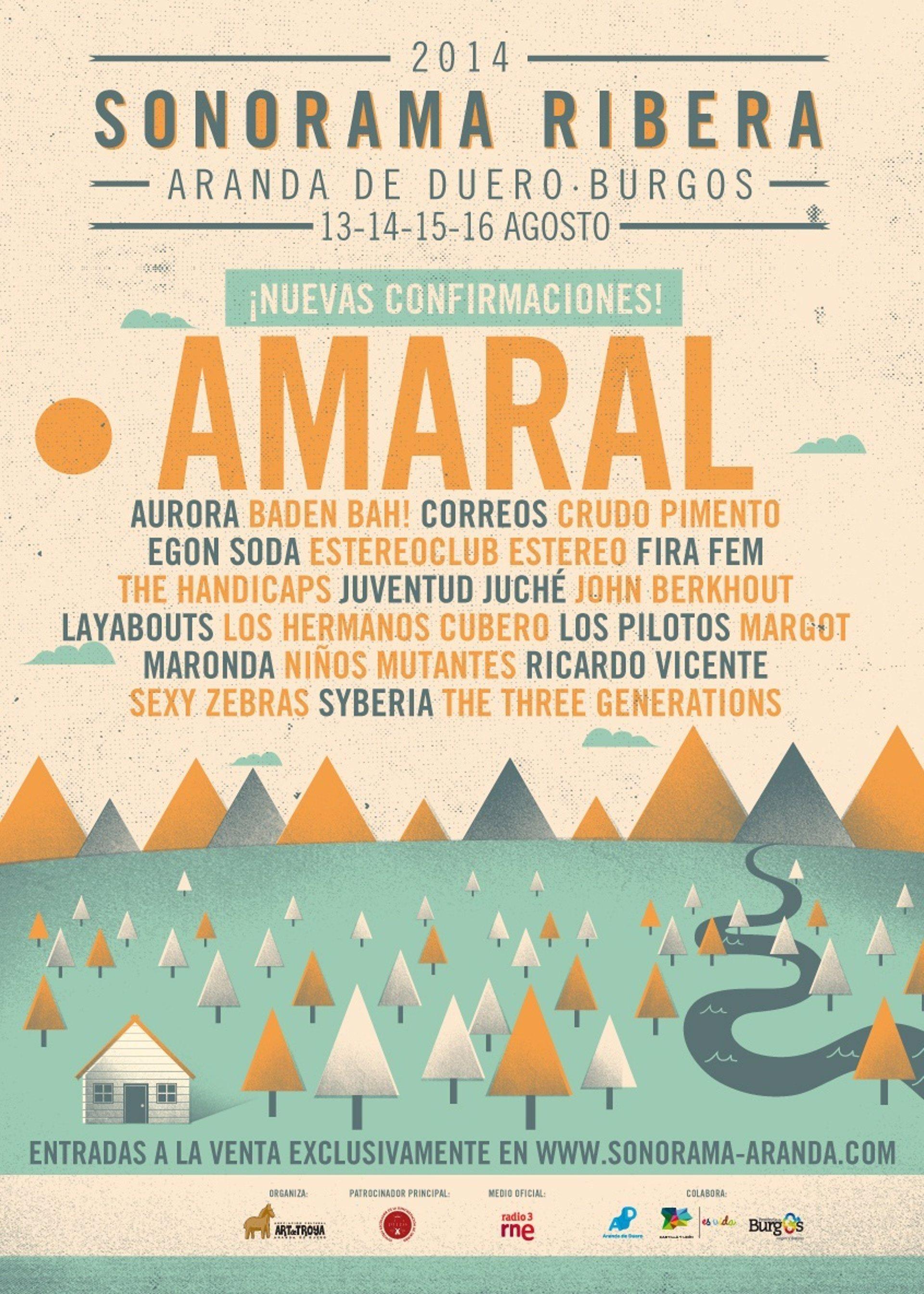 Amaral, Perro, Sexy Zebras, Layabouts, Egon Soda, Niños Mutantes o Los Pilotos estarán en Sonorama Ribera 2014