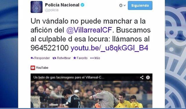 Mensaje de la Policía en Twitter sobre bote lanzado en El Madrigal.