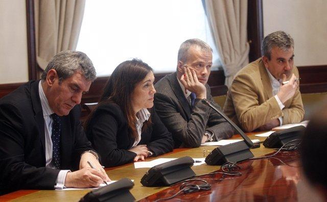 Julio Villarrubia, Soraya Rodríguez, Antonio Camacho y José de Francisco