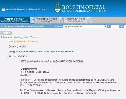 Argentina.- Nicolás Dapena Fernández, nombrado subsecretario de Lucha contra el Narcotráfico en Argentina