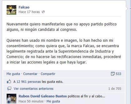 Falcao podría demandar a un político que usó su imagen sin autorización