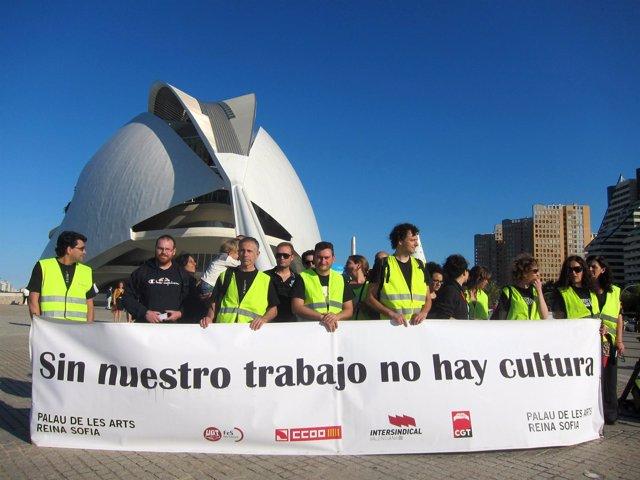 Protesta de los trabajadores del Palau de les Arts