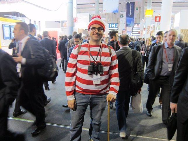 Oriol Marimón (Mobisfera) caracterizado como Wally en el MWC 2014
