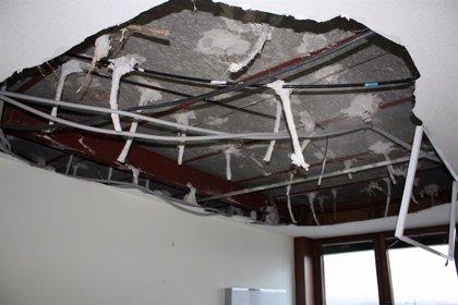 Se desprende el falso techo de una habitación de la Unidad del Sueño de la Residencia Cantabria