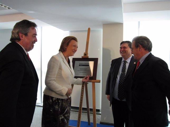 Belloch, Rudi, Sarasa y Grifols en la inauguración de la sede de Araclon Biotech