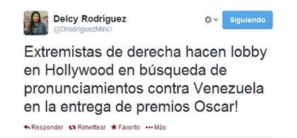 """""""Extremistas de derecha"""" buscan atacar Venezuela en los Oscar"""