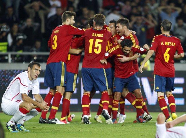 Georgia España 0-1 clasificación Mundial 2014