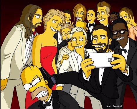 Los Simpson parodian el selfie de Ellen en los Oscar