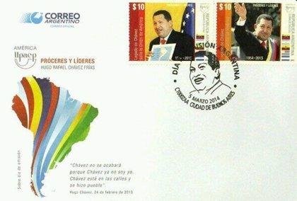Argentina emite sellos postales con la imagen de Chávez