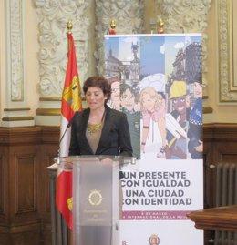 La atleta Mayte Martínez lee el manifiesto con motivo del Día de la Mujer