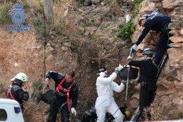 Operativo de búsqueda de los restos de Pilar Cebrián en un nevero, en Ricla