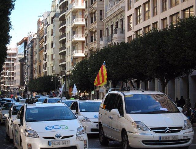 Una manifestación de taxis en Valencia