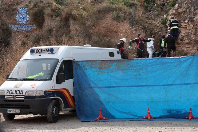Aspecto del lugar en el que se busca el cuerpo de Pilar Cebrián.