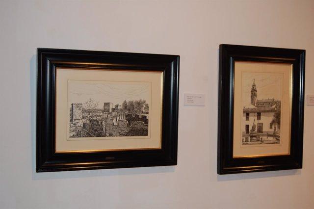 Algunas piezas de la exposición 'El dibujo en las colecciones municipales'.