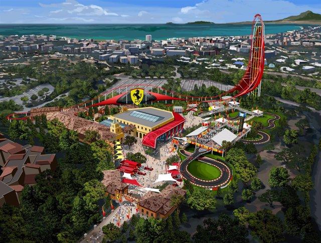 Imagen virtual del futuro parque temático 'Ferrari Land' de Port Aventura