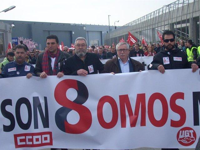 Manifestación en apoyo a los de airbus
