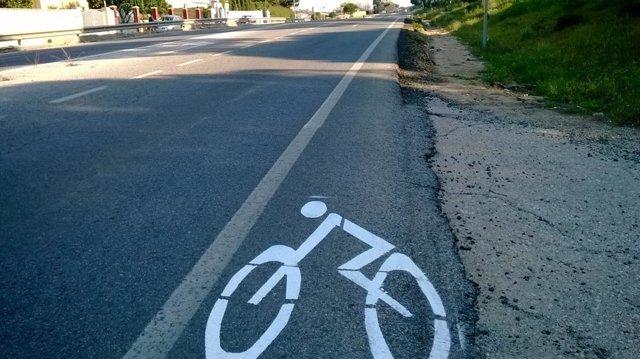 Imagen del carril bici señalizado en los arcenes de la carretera