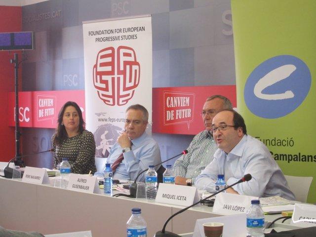 Miquel Iceta, Alfred Gusenbauer, Pere Navarro y Esther Niubó
