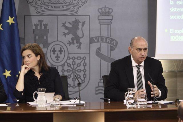 Soraya Sáenz de Santamaría, Luis de Guindos, Jorge Fernández Díaz