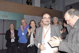Lambán, aplaudido por sus compañeros del Comité Regional.