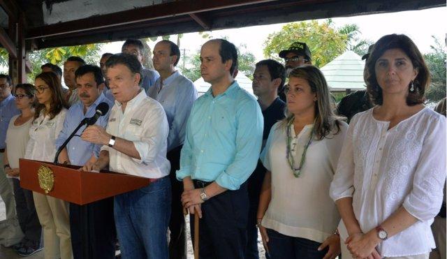 Presidente de Colombia, Juan Manuel Santos, en Tumaco