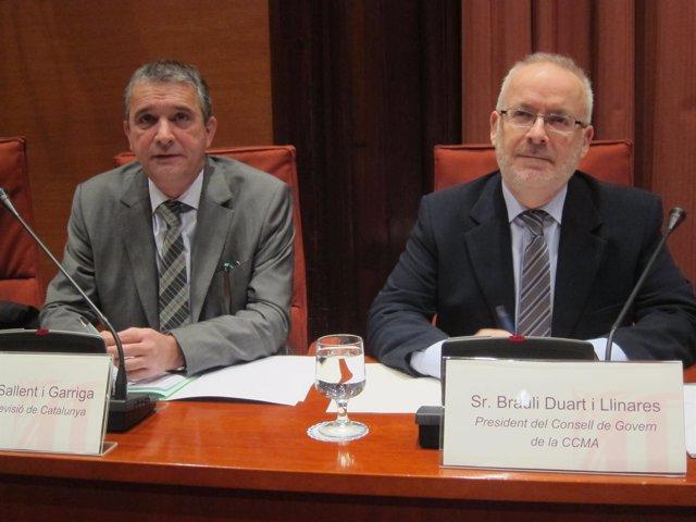 El director de TVC, E.Sallent, y el presidente de la CCMA, B.Duart