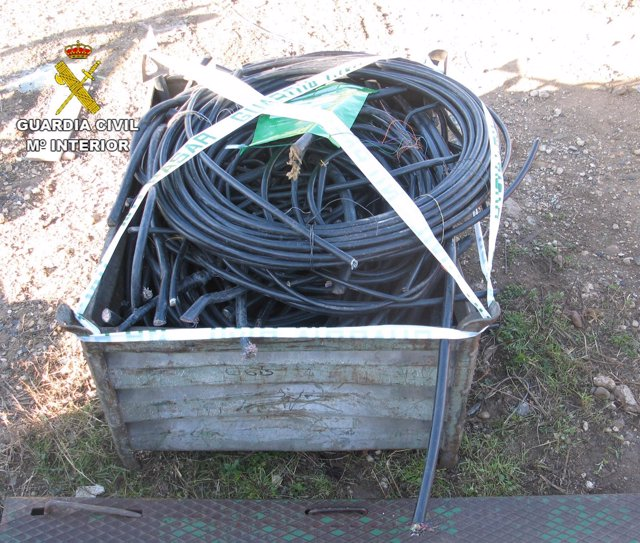 Cable recuperado por la Guardia Civil