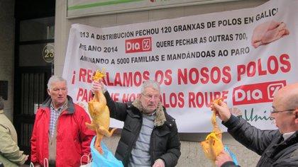 UU.AA. y Acriaga regalan pollos para denunciar pérdidas y cierre de granjas por la política de precios de Dia