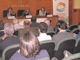 Asensio, Gálvez y Cobo en las jornadas sobre la estrategia energética.