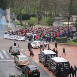 Manifestación de trabajadores de Hunosa