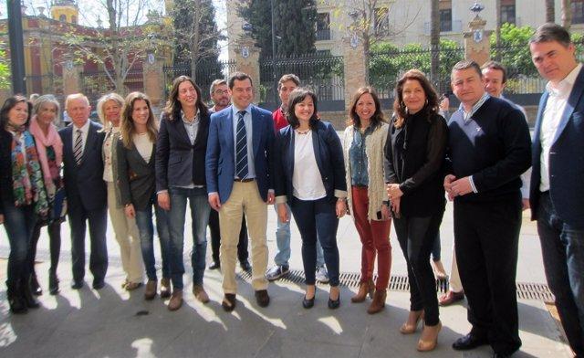 La nueva Ejecutiva del PP-A, con Juan Manuel Moreno como presidente