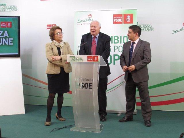 Miguel Ángel Moratinos, en el centro, junto a Carmen Espín y Francisco Reyes.