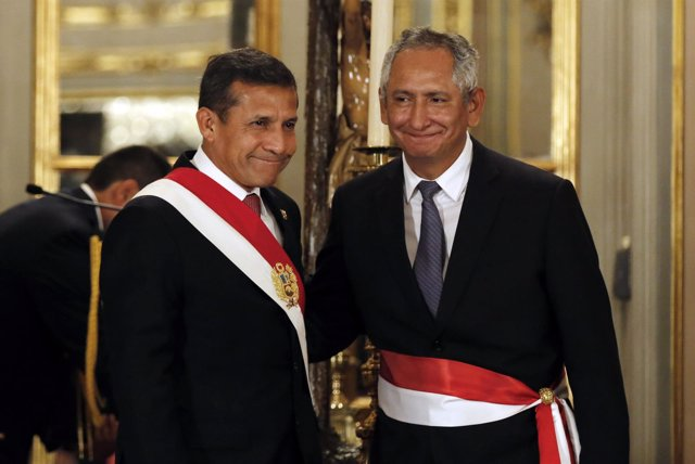El presidente de Perú, Ollanta Humala, y el primer ministro, René Cornejo.