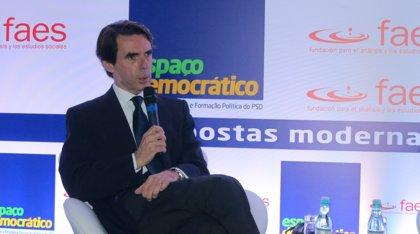 """Aznar critica el """"populismo autoritario"""" de Rusia y denuncia que la anexión de Crimea no ha respetado """"las reglas"""""""