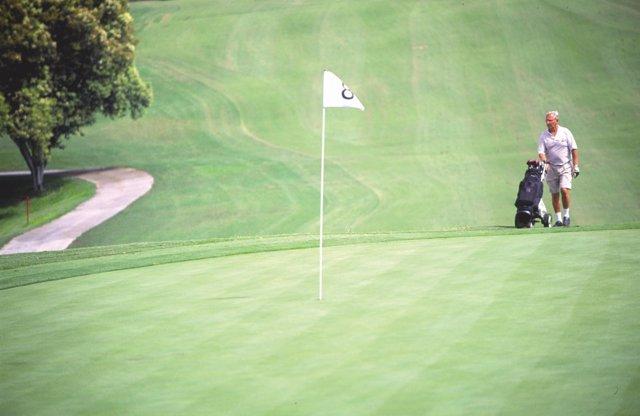 Un golfista practica golf campo turismo segmento ocio turista