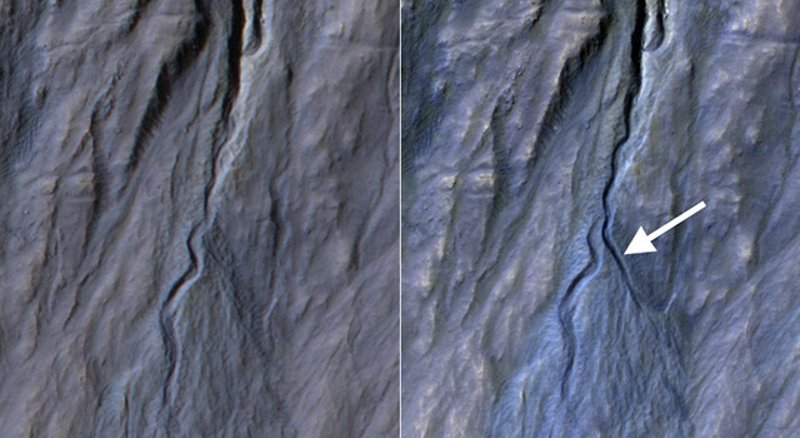 La NASA descubre un barranco recién formado en Marte