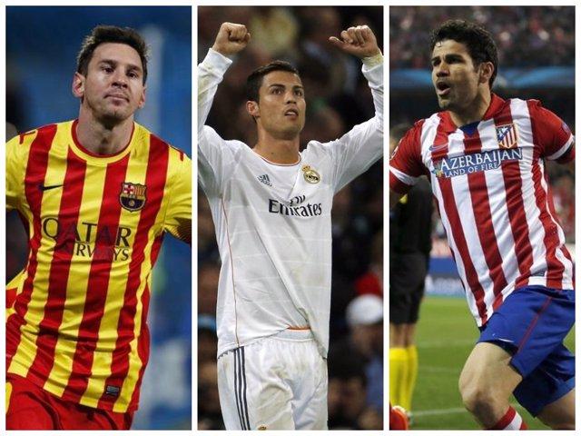 Messi, Cristiano y Diego Costa