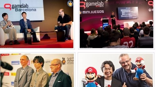 Collage de la feria de videojuegos española Gamelab