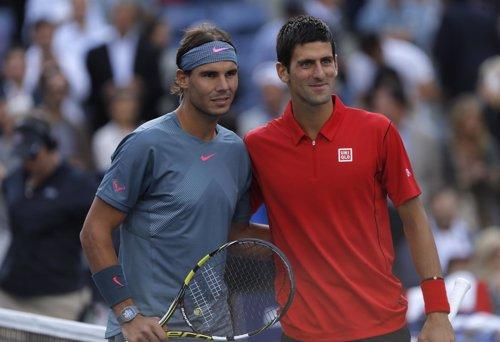 El tenista español Rafa Nadal y el serbio Novak Djokovic